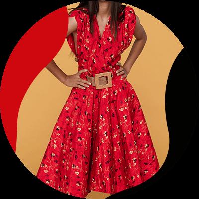 Fashion Trends - mujer con vestido rojo